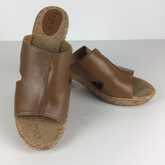 BOC Leather Slip On Heel Corkscrew Mules Size 11